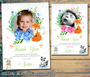 Woodland Animals Thank You Cards With Photo