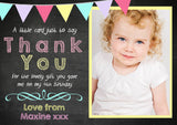 Chalkboard Colourful Rainbow Bunting Vintage Photo Vintage Personalised Birthday Thank You Cards Printed Kids Child Boys Girls Adult ~ QUANTITY DISCOUNT AVAILABLE