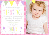 Vintage Bunting Personalised Birthday Thank You Cards Boys Girls