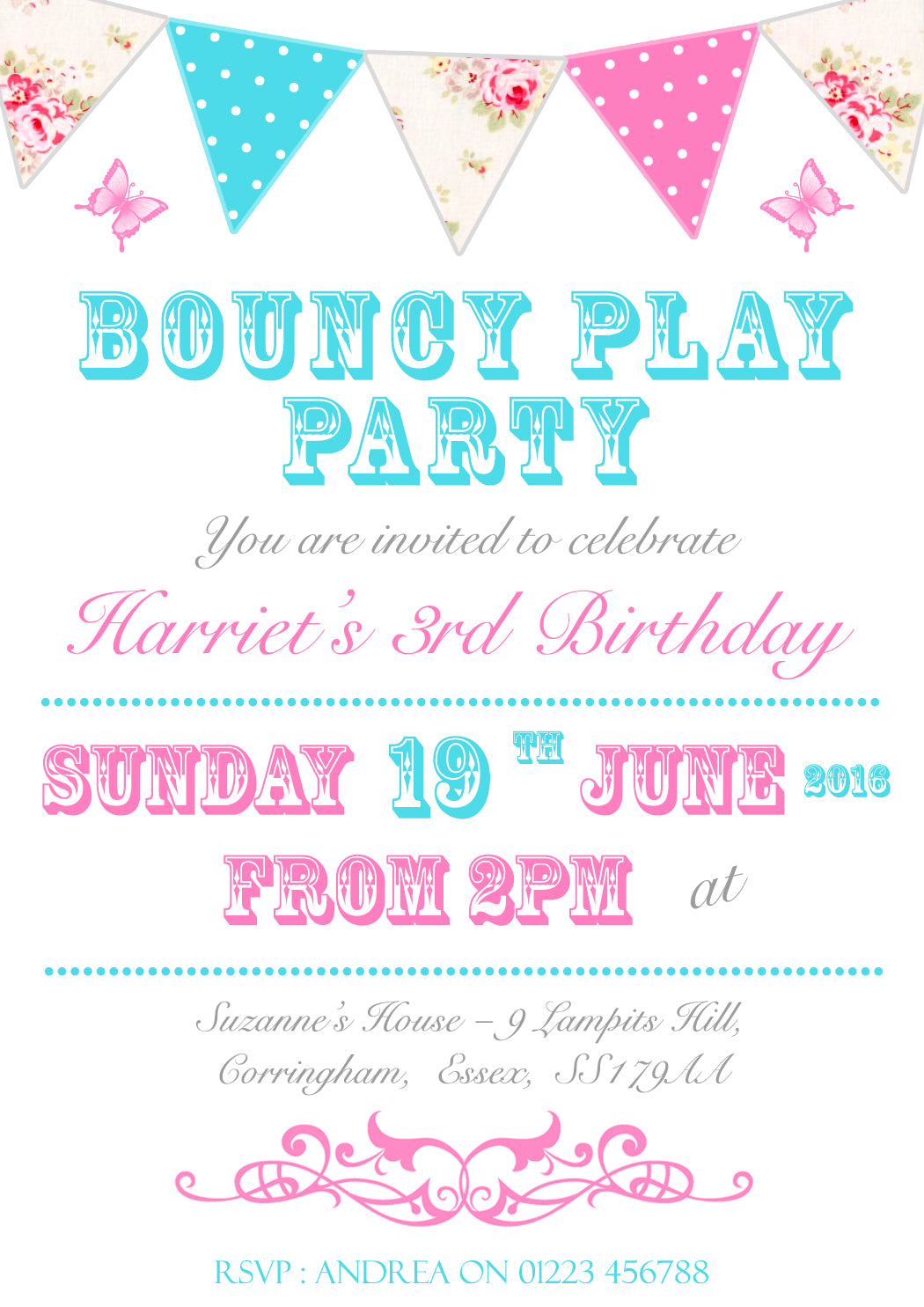 Shabby Chic Afternoon Tea Party Invitations - Boys Girls Joint ...