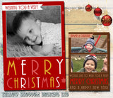 Wishing You A Merry Christmas Personalised Folded Flat Christmas Photo Cards Family Child Kids
