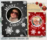 Cute Chalkboard Snowflakes Personalised Folded Flat Christmas Photo Cards Family Child Kids ~ QUANTITY DISCOUNT AVAILABLE