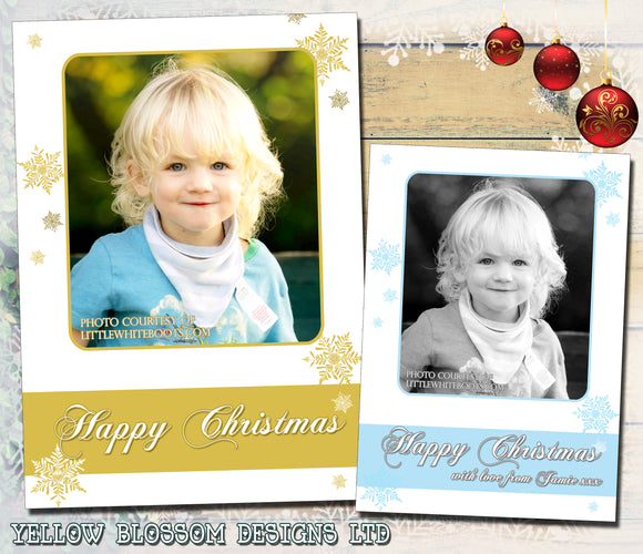 Cute Snowflakes Gold Blue Personalised Folded Flat Christmas Photo Cards Family Child Kids ~ QUANTITY DISCOUNT AVAILABLE