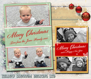 Red Gold Green Family Portrait Personalised Folded Flat Christmas Photo Cards Family Child Kids