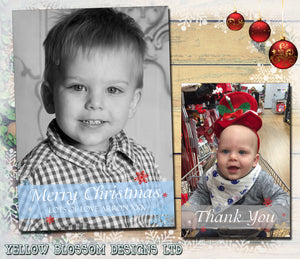 Banner Full Photo Personalised Folded Flat Christmas Photo Cards Family Child Kids ~ QUANTITY DISCOUNT AVAILABLE