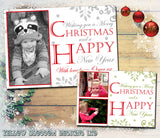 Happy Christmas Personalised Folded Flat Christmas Photo Cards Family Child Kids ~ QUANTITY DISCOUNT AVAILABLE
