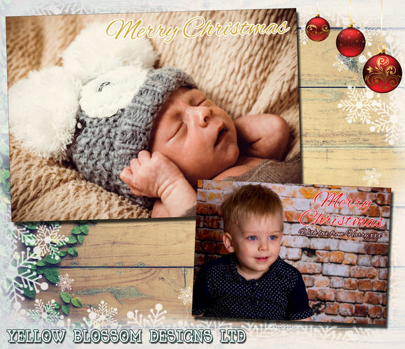 Full Photo Card Personalised Folded Flat Christmas Photo Cards Family Child Kids ~ QUANTITY DISCOUNT AVAILABLE