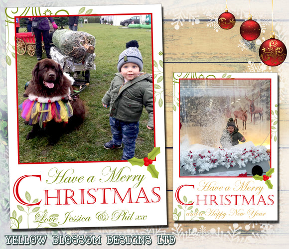 Cute Green Red Gold Personalised Folded Flat Christmas Photo Cards Family Child Kids ~ QUANTITY DISCOUNT AVAILABLE