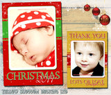 Xmas Baby Personalised Folded Flat Christmas Photo Cards Family Child Kids
