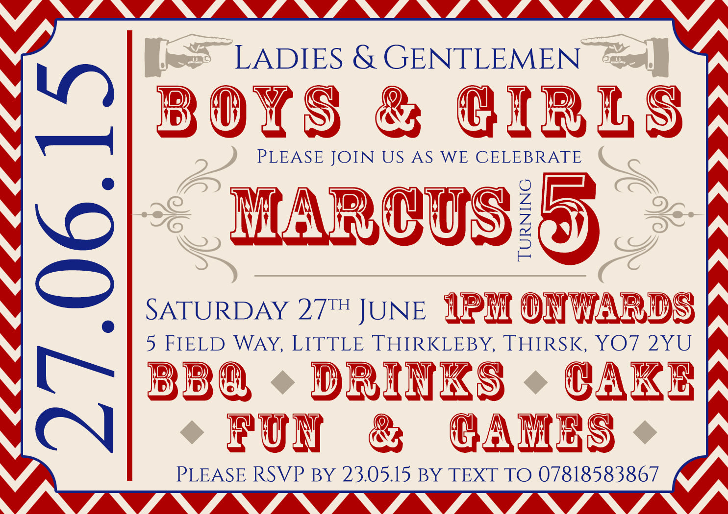 Circus Ticket Boys & Girls Joint Party Invitations - Children\'s Kids ...