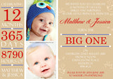 ONE 12 Months 365 Days Boy Girl Joint Party Invitations - Children's Kids Child Birthday Invites Boy Girl Joint Party Twins Unisex Printed ~ QUANTITY DISCOUNT AVAILABLE