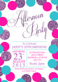 Glitter Effect Party Invitations - Boy Girl Unisex Joint Birthday Invites Boy Girl Joint Party Twins Unisex Printed ~ QUANTITY DISCOUNT AVAILABLE