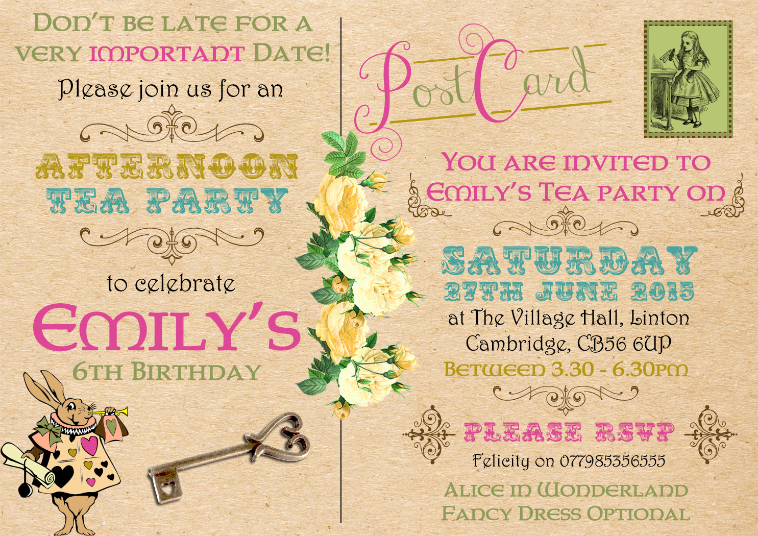 Vintage Rustic Postcard Afternoon Tea Party Invitations - Boy Girl ...
