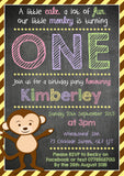 Monkey Chalkboard ONE TWO Party Invitations - Children's Kids Child Birthday Invites Joint Party Unisex Printed ~ QUANTITY DISCOUNT AVAILABLE