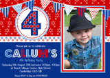 USA Bright Colours Party Invitations - Boy Girl Unisex Joint Birthday Invites Boy Girl Joint Party Twins Unisex Printed ~ QUANTITY DISCOUNT AVAILABLE