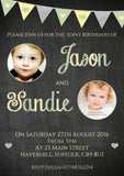 Chalkboard Bunting Glitter Joint Photo Party Invitations - Twin Children's Kids