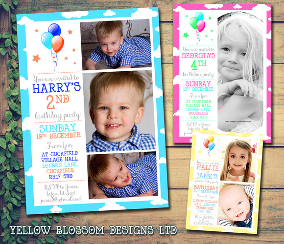 Cute Balloon Photo Party Invitations - Boy Girl Joint Party Invites Twins Unisex Printed Children's Kids Child ~ QUANTITY DISCOUNT AVAILABLE