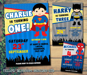Superhero Batman Spidermand Superman Party Invitations
