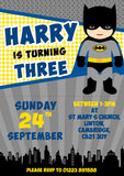 Superhero Batman Spidermand Superman Party Invitations - Birthday Invites Boy Girl Joint Party Twins Unisex Printed Children's Kids Child ~ QUANTITY DISCOUNT AVAILABLE