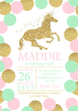 Glitter Effect Unicorn Party Invitations - Boy Girl Unisex Joint Twin Birthday Invites Boy Girl Joint Party Twins Unisex Printed ~ QUANTITY DISCOUNT AVAILABLE
