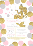 Mermaid Glitter Effect Party Invitations - Boy Girl Unisex Joint Birthday Invites Boy Girl Joint Party Twins Unisex Printed ~ QUANTITY DISCOUNT AVAILABLE
