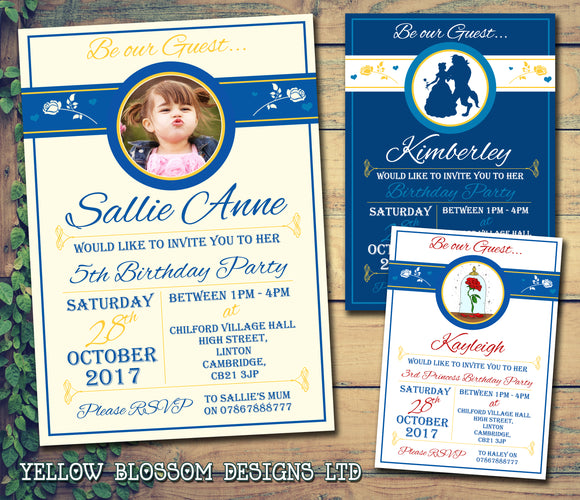 Be Our Guest Party Invitations - Boy Girl Joint Party Invites Twins Unisex Printed Children's Kids Child ~QUANTITY DISCOUNT AVAILABLE - YellowBlossomDesignsLtd