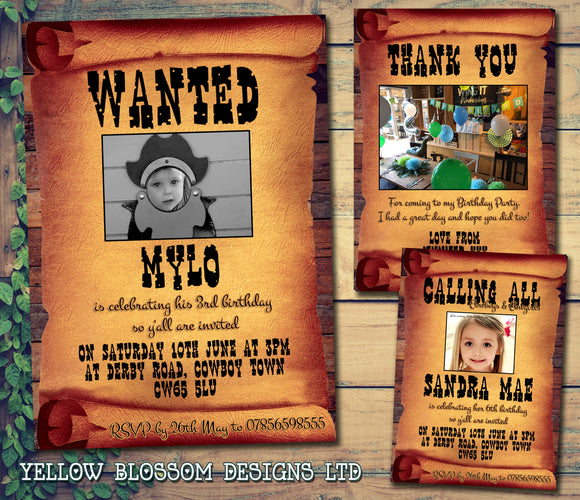 WANTED Poster Cowboy Cowgirl Photo Party Invitations - Children's Kids Child Birthday Invites Joint Party Unisex Printed ~ QUANTITY DISCOUNT AVAILABLE