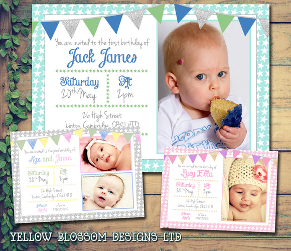 Peter Rabbit Bunting Chic Glitter Party Invitations - Birthday Invites Boy Girl Joint Party Twins Unisex Printed Children's Kids Child ~ QUANTITY DISCOUNT AVAILABLE