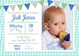 Bunting Chic Glitter Party Invitations - Birthday Invites Boy Girl Joint Party Twins Unisex Printed Children's Kids Child ~ QUANTITY DISCOUNT AVAILABLE