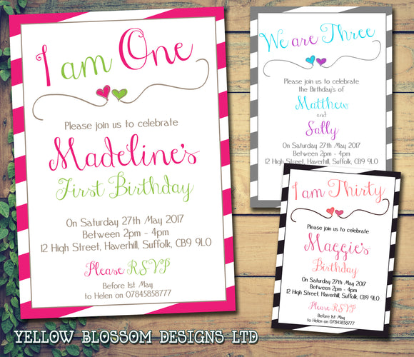 Stripes I Am We Are Joint Party Invitations - Boy Girl Unisex Joint Birthday Invites Boy Girl Joint Party Twins Unisex Printed ~ QUANTITY DISCOUNT AVAILABLE