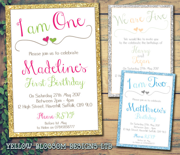 Glitter Effect Border 1 2 3 4 5 6 7 8 9 10 Party Invitations - Boy Girl Twin Unisex Joint Birthday Invites Boy Girl Joint Party Twins Unisex Printed ~ QUANTITY DISCOUNT AVAILABLE