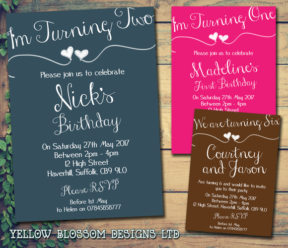 We Are 1 2 3 4 5 6 7 8 9 10 Party Invitations - Birthday Invites Boy Girl Joint Party Twins Unisex Printed Children's Kids Child ~ QUANTITY DISCOUNT AVAILABLE