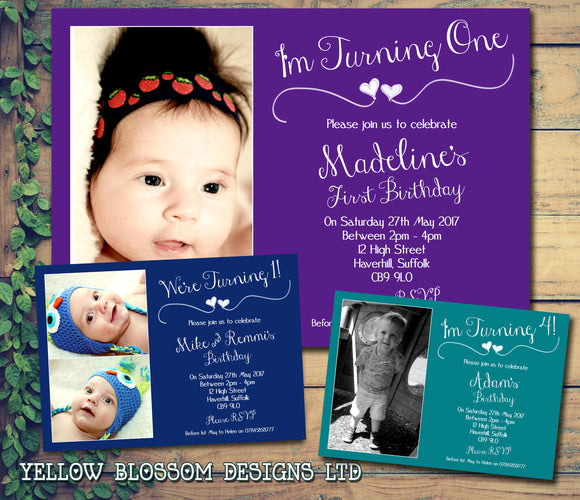 I Am 1 2 3 4 5 6 7 8 9 10 Photo Party Invitations - Birthday Invites Twin Boy Girl Joint Party Twins Unisex Printed Children's Kids Child ~ QUANTITY DISCOUNT AVAILABLE