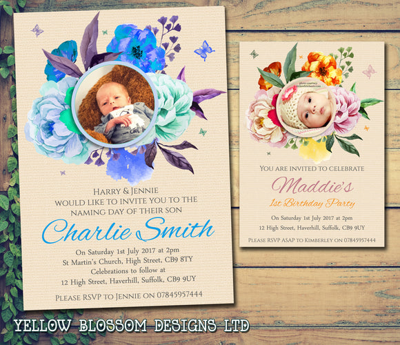Rustic Flower Cream Photo Party Invitations - Birthday Invites Boy Girl Joint Party Twins Unisex Printed Children's Kids Child ~ QUANTITY DISCOUNT AVAILABLE