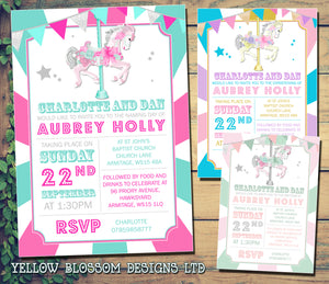 Fairground Ride Horse - Christening Invitations Boy Girl Unisex Twins Baptism Naming Day Ceremony Celebration Party ~ QUANTITY DISCOUNT AVAILABLE