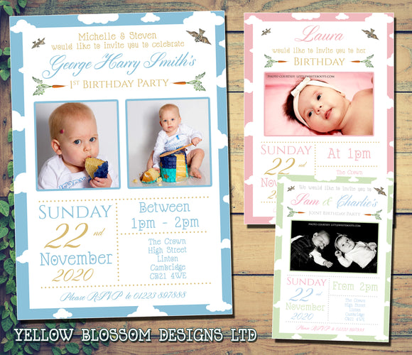 Beatrix Potter Peter Rabbit Jemima Photo Party Invitations - Twin Birthday Invites Boy Girl Joint Party Twins Unisex Printed Children's Kids Child ~ QUANTITY DISCOUNT AVAILABLE