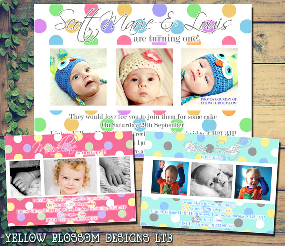 Children's Kids Child Birthday Invitations Boy Girl Joint Party Twins Twin Unisex Printed - Polka Dots Multiple Photos ~ QUANTITY DISCOUNT AVAILABLE - YellowBlossomDesignsLtd