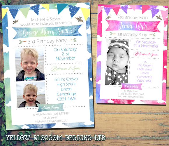 Bunting Watercolour Party Invitations - Birthday Invites Boy Girl Joint Party Twins Unisex Printed Children's Kids Child ~ QUANTITY DISCOUNT AVAILABLE