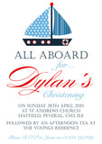 Nautical All Aboard - Christening Invitations Boy Girl Unisex Twins Baptism Naming Day Ceremony Celebration Party  ~ QUANTITY DISCOUNT AVAILABLE