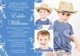 Swirls Photo Celebration Party - Christening Invitations Joint Boy Girl Unisex Twins Baptism Naming Day Ceremony Celebration Party ~ QUANTITY DISCOUNT AVAILABLE