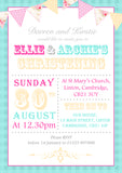 Board Bunting - Christening Invitations Boy Girl Unisex Twins Baptism Naming Day Ceremony Celebration Party ~ QUANTITY DISCOUNT AVAILABLE - YellowBlossomDesignsLtd