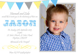 Bunting Shabby - Christening Invitations Boy Girl Unisex Joint Twins Baptism Naming Day Ceremony Celebration Party ~ QUANTITY DISCOUNT AVAILABLE