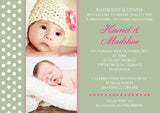 Photo Dots - Christening Invitations Joint Boy Girl Unisex Twins Baptism Naming Day Ceremony Celebration Party ~ QUANTITY DISCOUNT AVAILABLE