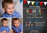 Bunting Photo - Christening Invitations Joint Boy Girl Unisex Twins Baptism Naming Day Ceremony Celebration Party ~ QUANTITY DISCOUNT AVAILABLE