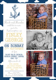 Nautical Hearts Cross - Christening Invitations Boy Girl Unisex Twins Baptism Naming Day Ceremony Celebration Party ~ QUANTITY DISCOUNT AVAILABLE