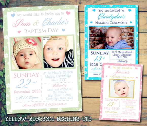 Floral Photo Joint Celebration Party - Christening Invitations Boy Girl Unisex Twins Baptism Naming Day Ceremony Celebration Party ~ QUANTITY DISCOUNT AVAILABLE