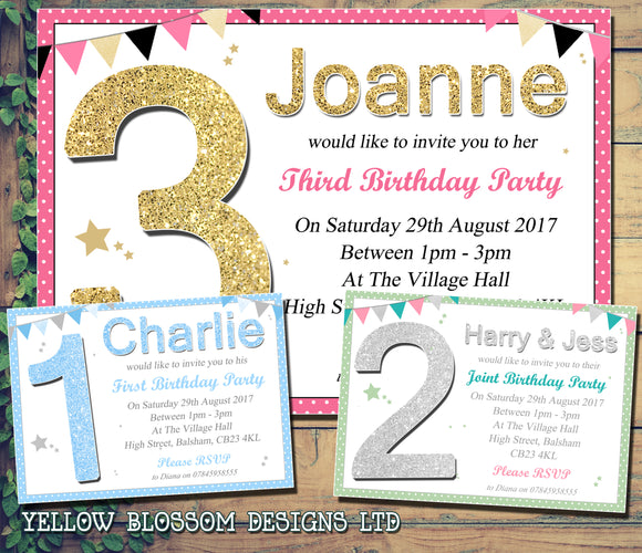 Party Invitations - Birthday Invites Boy Girl Joint Party Twins Unisex Printed Children's Kids Child ~ QUANTITY DISCOUNT AVAILABLE