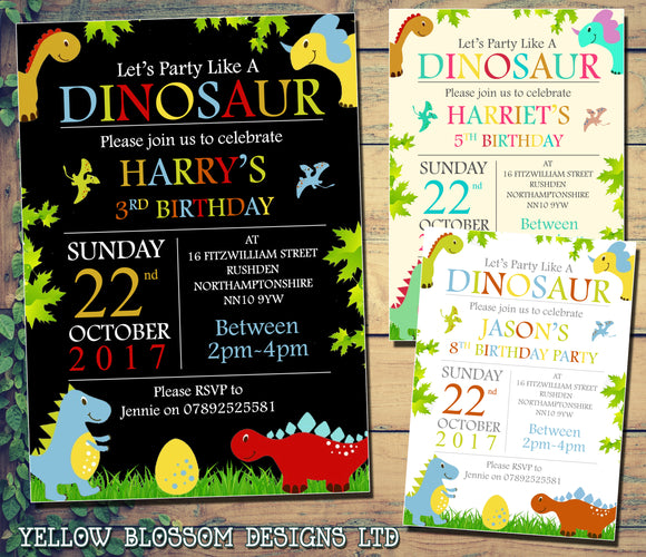 Dinosaur Party Invitations - Birthday Invites Boy Girl Joint Party Twins Unisex Printed Children's Kids Child ~ QUANTITY DISCOUNT AVAILABLE