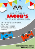 Go Karts Race Track Racing Cars Party Invitations - Birthday Invites Boy Girl Joint Party Twins Unisex Printed Children's Kids Child ~ QUANTITY DISCOUNT AVAILABLE