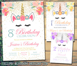 Magical Fantasy Unicorn Birthday Party Invitations ~ Personalised ~ Glitter Effect